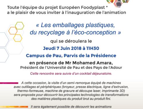 Foodyplast / Animation «Les emballages plastiques, du recyclage à l'éco-conception» – 7 et 8 juin 2018 Campus de Pau