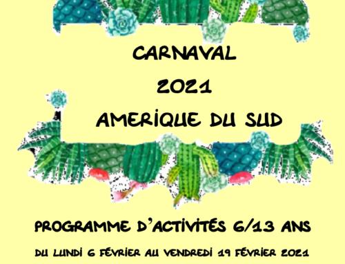Programme ALSH 6-13 ans Vacances Février 2021