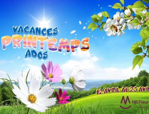 Programme Secteur Ados Vacances Printemps 2021